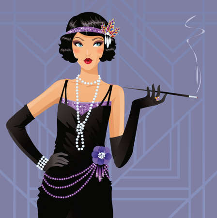 Illustration for Cute flapper girl - Royalty Free Image