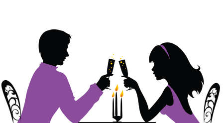 Photo pour Couple having a romantic dinner - image libre de droit