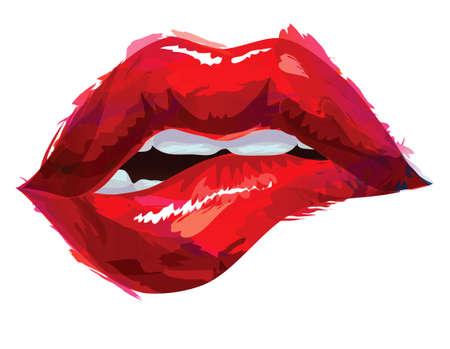 Illustration pour Sexy biting lips - image libre de droit