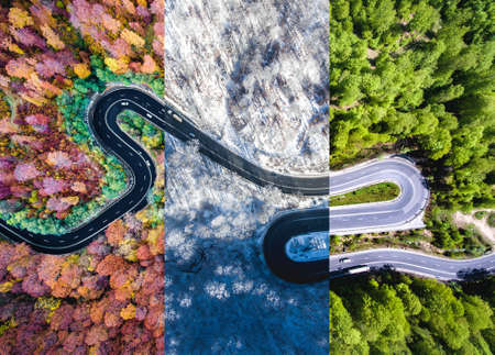 Photo pour Winding road in the forest. Autumn, summer and winter time colage. Top down aerial view from a drone. - image libre de droit