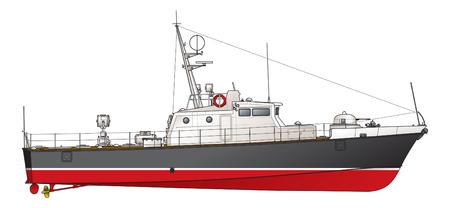Illustration pour The small patrol boat. Illustration. - image libre de droit