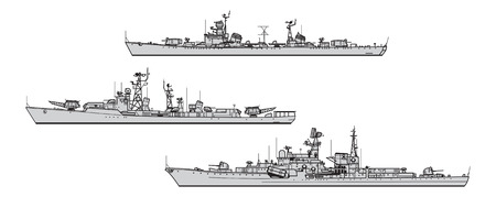 Illustrazione per Soviet destroyers. Collection of warships vector silhouettes - Immagini Royalty Free