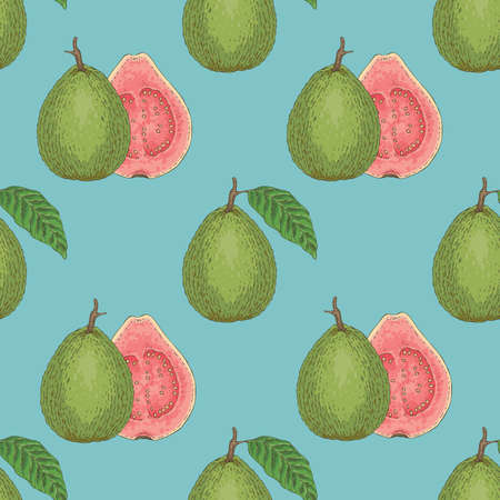 Illustration pour Seamless Vector Pattern with Ripe Guava with Leaf - image libre de droit