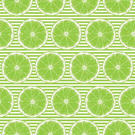 Illustration for Seamless Pattern with White Contours of Lime Slices on Striped Green and White Background - Royalty Free Image