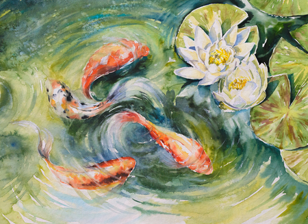 Foto de Colorful fishes swimming in pond .Picture created with watercolors. - Imagen libre de derechos