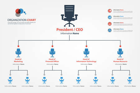 Foto per Modern and smart organization chart in which apply chair icon into the chart available in vector style  - Immagine Royalty Free