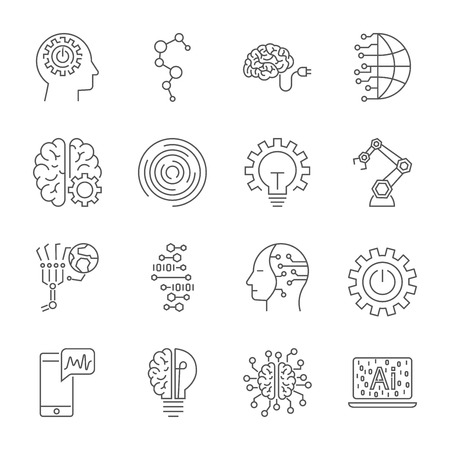 Illustration pour Simple Set of Artificial Intelligence Related Vector Line Icons. Contains such Icons as Face Recognition, Algorithm, Self-learning and more. Editable Stroke. - image libre de droit