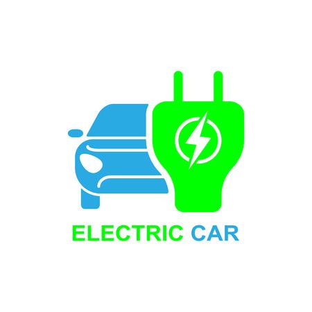 Ilustración de Electro car icon. Logo element illustration. Electro car symbol design from 2 colored collection. Simple Electro car concept. Can be used in web and mobile. - Imagen libre de derechos