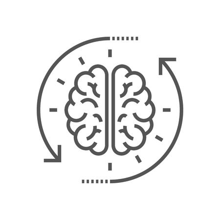 Photo pour Concept of the thinking process, brainstorming, good idea, brain activity, insight. Flat line vector icon illustration design for your web design and print - image libre de droit