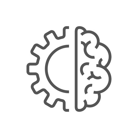 Ilustración de Artificial intelligence brain icon - vector AI technology concept symbol or design element - Imagen libre de derechos