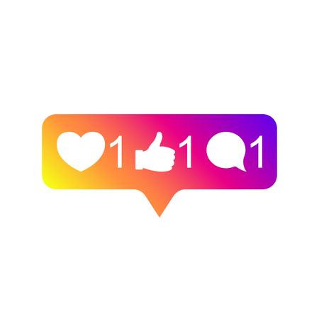 Illustration pour Social media Instagram modern like 1, follower 1, comment 1 gradient color. Like, follower, comment button, icon, symbol, ui, app, web. Vector illustration. EPS 10. - image libre de droit