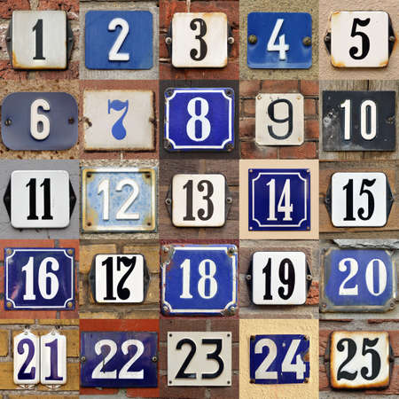 Foto de  House numbers 1 to 25 - Collection of House numbers one to twenty-five - Imagen libre de derechos