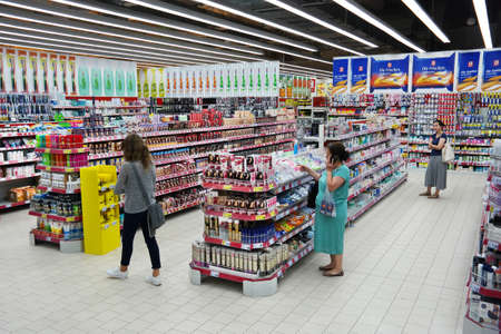 Foto de PAPENBURG, GERMANY - AUGUST 2015: Drugstore department, the section Where They sell cosmetics and healthcare products in a Kaufland Hypermarket. - Imagen libre de derechos
