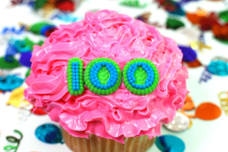 Number 100 celebration cupcake with confetti.