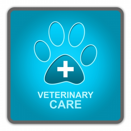The Blue Glossy Style Pet Veterinary Care Sign Isolated on White Background