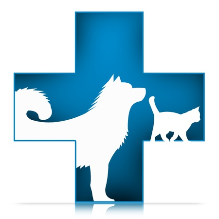 3D Pet Veterinary Care Sign With Dog and Cat in Blue Cross Isolated on White Background