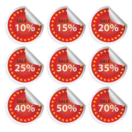 Red Sale 10% - 70% Icon, Badge, Sticker or Label Isolated on White Background