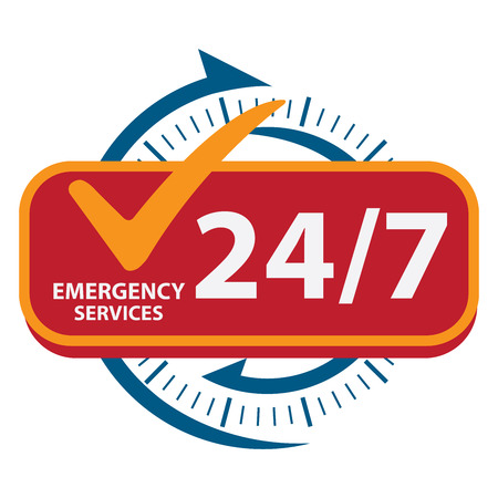 Photo for Blue 24/7 Emergency Services Icon, Badge, Label or Sticker for Customer Service, Support or CRM Concept Isolated on White Background - Royalty Free Image