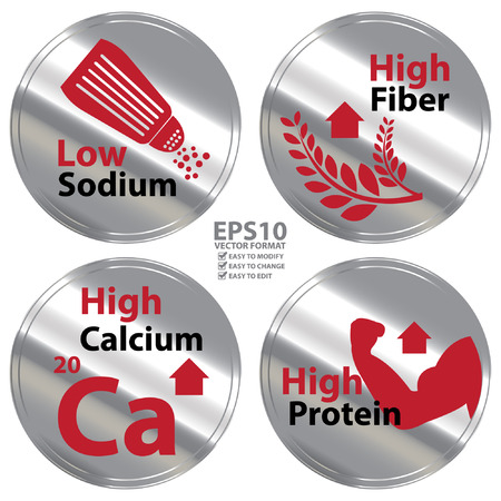 Illustration pour Vector : Silver Metallic Style Low Sodium High Fiber High Calcium and High Protein Icon Badge Label or Sticker for Healthy Medical and Healthcare Diet or Product Information Concept - image libre de droit
