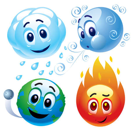 Smiling balls representing natural elements water, wind, earth and fire
