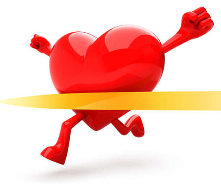 Foto de Heart shaped mascot running - Imagen libre de derechos