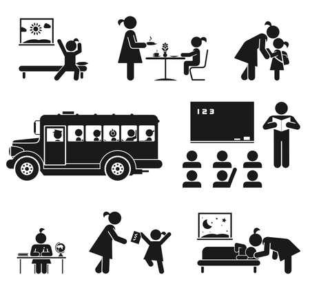 Illustration pour Children go to school  Pictogram icon set - image libre de droit
