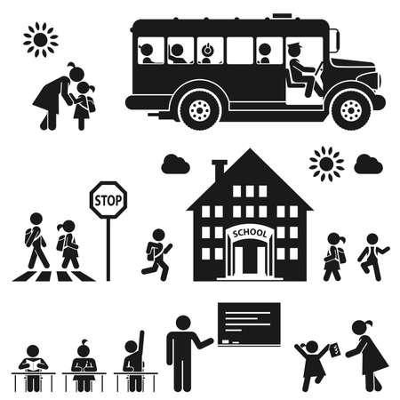 Illustration for Children go to school  Pictogram icon set - Royalty Free Image