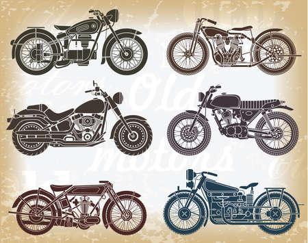 Illustration pour Vector set of old classic motorcycle  - image libre de droit
