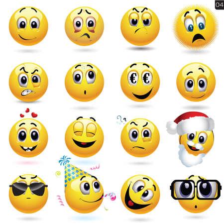 Illustration pour Vector set of smiley icons with different face expression - image libre de droit