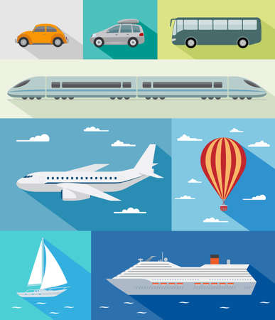 Illustration pour Various types of transport  car, bus, train, airoplane, air baloon, sailing boat, ship with long shadow effect - image libre de droit