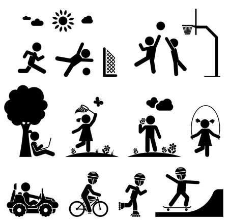 Children play on playground. Pictogram icon set.