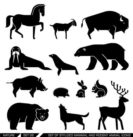 Illustration pour Set of various mammals and rodents: horse, goat, bison, seal, walrus, Arctic bear, bear, wild boar, hedgehog, rabbit, squirrel, wolf, deer,. Vector illustration. - image libre de droit