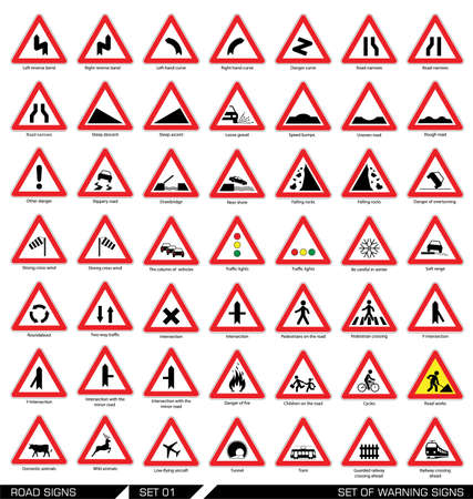 Illustration pour Collection of triangular warning traffic signs. Signs of danger. Vector illustration. - image libre de droit