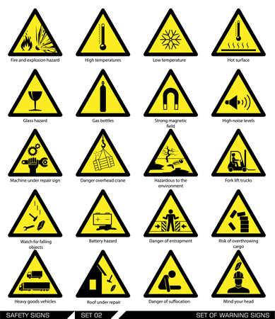 Illustration pour Collection of warning signs. Vector illustration. Signs of danger. Signs of alerts. - image libre de droit