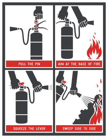 Illustration for Fire extinguisher signs. Vector illustration. - Royalty Free Image