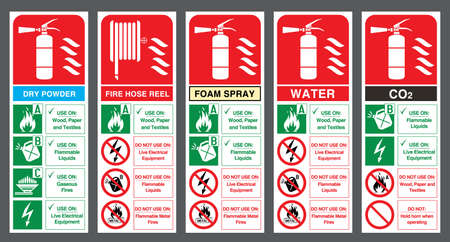 Illustration for Fire extinguisher labels. Vector illustration. - Royalty Free Image
