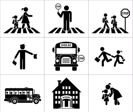 Foto de Children go to school. Pictogram icon set. Crossing the street. - Imagen libre de derechos