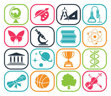 Illustration for Collection of icons presenting different school subjects, science, art, history, geography, chemistry, maths, music, sports. Vector illustration. - Royalty Free Image