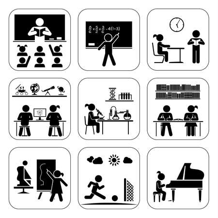 Photo pour Children in school attending classes.  Doing maths, chemistry, art, playing piano, learning, doing sports. Vector illustration. - image libre de droit