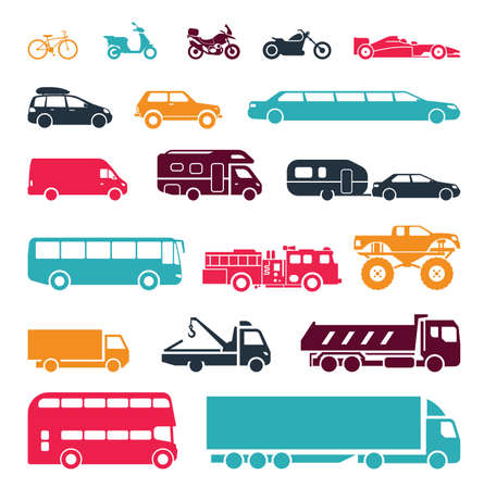 Photo pour Collection of signs presenting different modes of transport on land. Modern means of transportation. Transportation icons. - image libre de droit