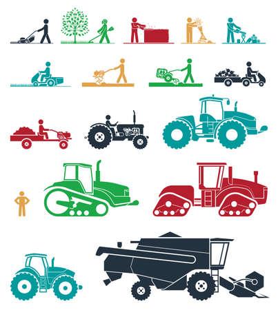 Illustration pour Agricultural mechanization. Mower, trimmer, saw, cultivator, tractors, harvesters, combines and excavators. Icon set of working machines. - image libre de droit