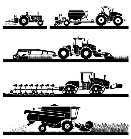 Illustration pour Set of different types of agricultural vehicles and machines harvesters, combines and excavators. Icon set of working machines. Agricultural machines with accessories for plowing, mowing, planting, spraying and harvesting. - image libre de droit