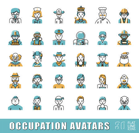 Ilustración de Collection of avatar icons related to professional occupation. Flat line set of occupation icons. Vector illustration. - Imagen libre de derechos