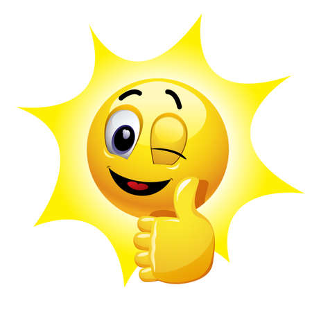 Illustration pour Winking smiley showing thumb up. Emoticon thumbs up showing positive mood. - image libre de droit