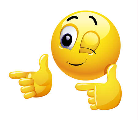 Illustration pour Winking smiley gesturing with his hand. Emoticon thumbs up showing positive mood. - image libre de droit