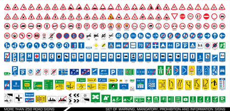 Illustration pour More than 250 road signs. Collection of warning, mandatory, prohibition and information traffic signs. European traffic signs collection. Vector illustration. - image libre de droit