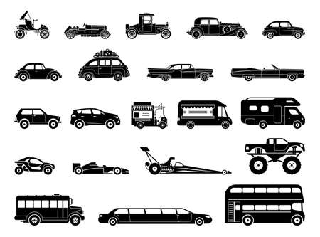 Illustration pour Old car and other vehicle models, classic, oldtimer, extravagant, special purposes vehicles. Collection of signs presenting different modes of transport on land. Modern means of transportation. Transportation icons. - image libre de droit