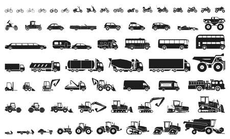 Ilustración de Set of various transportation and construction machinery. Icons of Motorcycles and bicycles, cars, heavy trucks, Heavy-duty vehicles and buses. - Imagen libre de derechos