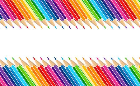 Illustrazione per Bright multicolor pencils border isolated over white. Art stationery hand drawn vector illustration blank frame. - Immagini Royalty Free