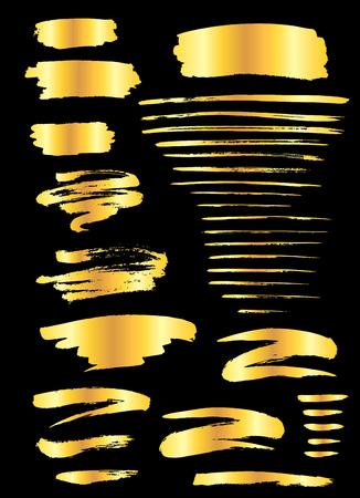 Ilustración de Collection of miscellaneous golden grunge brush strokes isolated over black background. Set of design elements. Vector illustration. - Imagen libre de derechos